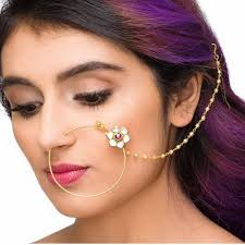 big nose rings images Ethnic bridal queen padmavati gold plated kundan flower big nose jpg