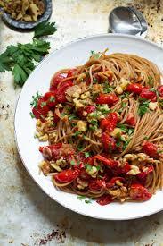 burst tomato pasta with charred walnuts