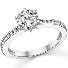 channel set engagement rings moissanite channel set engagement ring 0 18ct