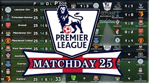 epl table fixtures results and top scorer english premier league results table fixtures matchday 25 07