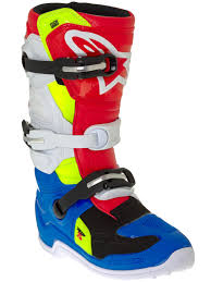 dirt bike racing boots alpinestars blue white red fluorescent tech seven s kids mx boot