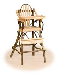 Child High Chair Rustic Hickory High Chair With Flip Tray