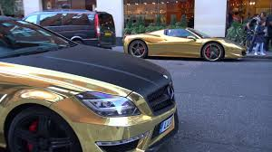 golden ferrari 458 gold chrome ferrari 458 spider u0026 700hp mercedes cls63 amg youtube