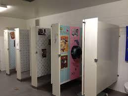 bathroom door ore high opens unisex bathrooms to