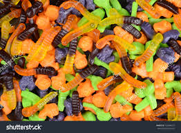 halloween gummy worms witches brooms cats stock photo 720940213