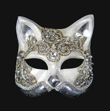 cat masquerade mask gatto macrame craquele silver cat things for margaret