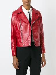 red motorcycle jacket saint laurent classic leather biker jacket in red lyst