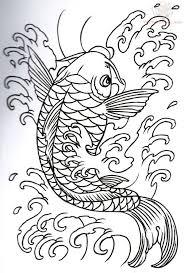 koi outline tattoo design