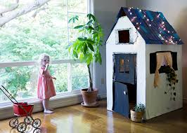 diy cardboard playhouse from a box say yes
