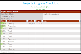 project to do list template with completion percentage dotxes