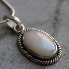 opal necklace silver images Buy white opal pendant necklace genuine opal silver pendant jpg