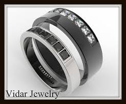 his and hers black wedding rings 13 best duo band rings images on rings band