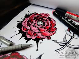 tattoo flash peony by asikaart on deviantart