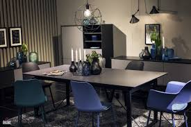 serve it bright 15 ways to add color to your contemporary dining view in gallery beautiful vases in the backdrop accentuate the visual ipact of blue chairs in this black and white dining room view in gallery