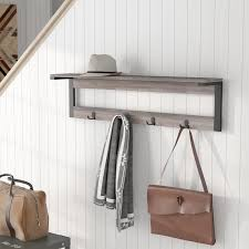 entryway rack loon peak junien 1 shelf 4 hook entryway wall mounted coat rack