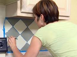 How To Tile Kitchen Backsplash How To Paint A Faux Tile Backsplash How Tos Diy