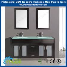 Free Standing Bathroom Sink Vanity 60 U0027 Inch Large Capacity Double Glass Basin Position Solid Wooden