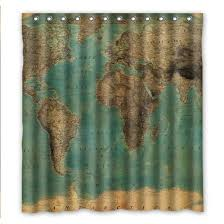 World Map Fabric Shower Curtain Custom Fashionable Vintage Style World Map Pattern Waterproof
