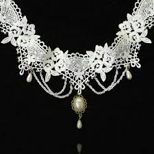 white lace necklace images Wholesale royal style white lace pendant choker necklace yiwuproducts jpg
