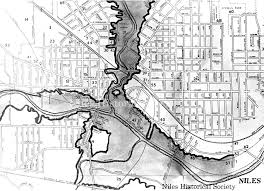 Ohio Erie Canal Map by Niles Historical Society 1913 Flood Photographs