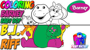 coloring barney baby bop riff barney friends