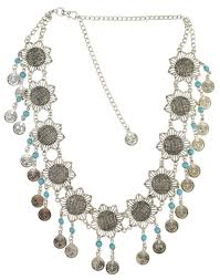 resin beaded necklace images Gypsy hollow flower silver fashion waist chain women sexy belly jpg