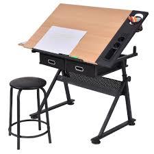 bureau table dessin table à dessin inclinable avec tabouret multifonctionnel métal