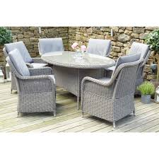 Rattan Patio Dining Set - pacific lifestyle barbados 6 seat oval rattan garden dining set
