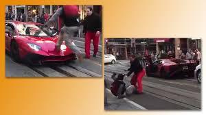 fake lamborghini key man jumps on top of a lamborghini aventador sv gets knocked out
