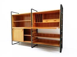 mid century black modular bookshelves 1960s design market