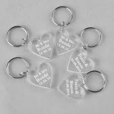 wedding favor keychains 10 clear personalized laser engraved keychain heart