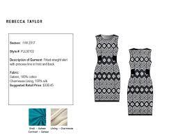 pattern black silk pack tech pack dress on fidm portfolio gallery