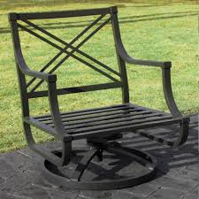 Metal Rocking Patio Chairs Black Metal Porch Chair With Wide Seat And Back As Well As Swivel