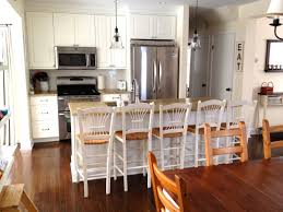 kitchen style wooden bar stools white cabinets stainless steel