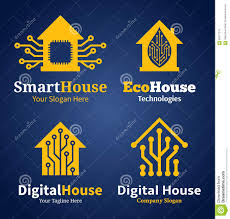 home and design logo set of smart house logo icons and design elements stock vector