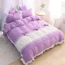 Duvet Cover Purple Princess Purple Ruched Ruching Ruffle Cotton Shabby Chic Victorian Cottage French Country Bedding Duvet Cover Comforter Pillow Sham 2 Jpg