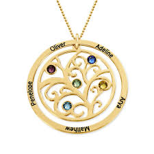 birthstone necklace family tree birthstone necklace 10k yellow gold mynamenecklace