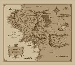 map hobbit medium middle earth map cotton fabric lord of the rings the