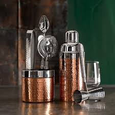 cocktail shaker set copper hammered cocktail shaker williams sonoma au