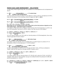 100 gas law problems worksheet 100 page ideal and combined