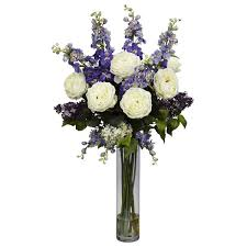 nearly delphinium and lilac silk floral arrangements