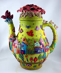 Polymer Clay Vases Polymer Clay Covered Teapot Georgia P Designs
