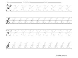 tracing worksheet cursive letter k
