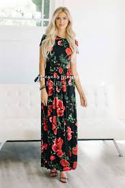 floral maxi bridesmaid dress black roses fall floral maxi modest dress best and