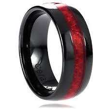 carbon fiber wedding band 8mm men s ceramic black with carbon fiber fireman wedding band