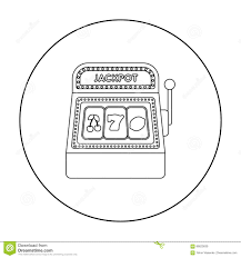 slot machine icon in outline style isolated on white background