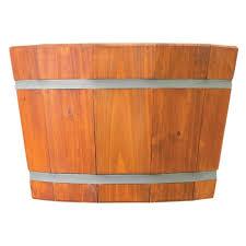 matthews natural wood whiskey barrel planter 12 75 x 20 100045251