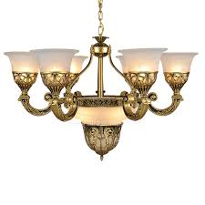 9 lights golden fixture glass shade white french style chandeliers