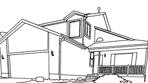 house outline drawing sketch coloring page