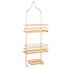 Teak Bath Caddy Australia by Bathroom Design Golden Shower Caddy With Triple Spaces And Hooks